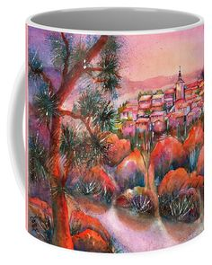 Sunrise Roussillon Coffee Mug featuring the painting Sunrise over Roussillon Provence France by Sabina Von Arx Mugs For Sale, Creative Colour, Provence France, Unique Coffee Mugs, Painting Techniques, Color Show, Colorful Backgrounds, Fine Art America, Watercolor Paintings