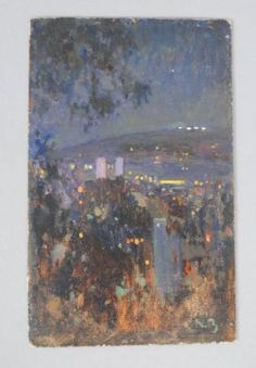 Estate-Early-20c-Nikolai-Becker-Oil-Painting-France-Night-Time-Cityscape-Signed