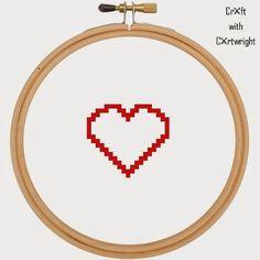 Free heart cross stitch pattern PDF #valentines