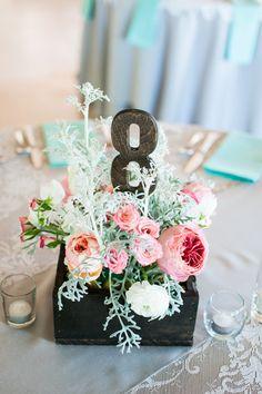 Shabby Chic Wedding Table Number Idea     Jen Rios Design   #Weddings #WeddingDecor