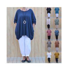 Pocket Hanky Hem Lagenlook Tunic Top Dress Beach Kaftan Size 16 18 20 22