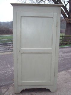 Antique French Painted Pine Larder Pantry Cupboard with Shelves C1900