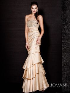 Jovani Satin Tiered Gown, style 171512