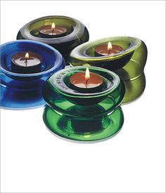 Candle holders from cut wine bottles.