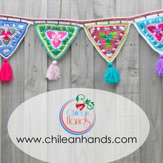 by chileanhands on Etsy Bunting Pattern, Crochet Bunting, Crochet Garland, Crochet Mandala Pattern, Crochet Decoration, Crochet Quilt, Crochet Home Decor, Crochet Squares, Knit Crochet