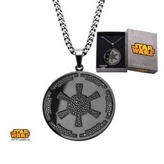 """Stainless Steel Star Wars Galactic Empire Symbol Gun Metal Finished Pendant with 22"""" Chain. #jewelry #disney #starwars #imperial #gunmetal #darkside"""