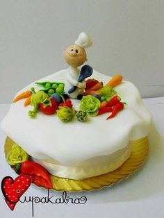 Chef cake Cakes For Men, Cakes And More, Different Kinds Of Cakes, Chef Cake, Baker And Cook, Baker Cake, Sugar Bread, Funny Cake, Cooking Cake