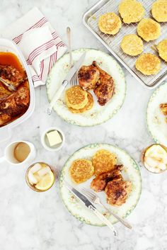 Crisp Butter Roasted Chicken and Fresh Corn Johnny Cakes