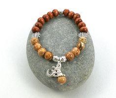 OM  YOGA Jewelry Bracelet Jasper Healing Protection by BeMyCharm, $18.75