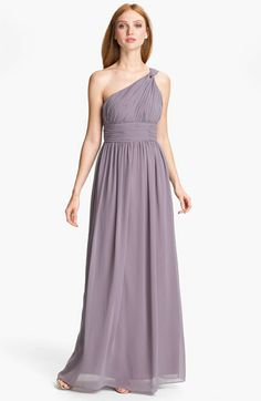 Donna Morgan Ruched One Shoulder Chiffon Gown available at Nordstrom