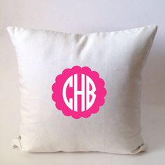Monogram Pillow Dorm Decor Personalized Gift by Snazzyliving