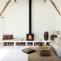 64 Trendy Home Decored Rustic Chic Living Room Fireplaces Chic Living Room, Home Living Room, Living Spaces, Small Living, Modern Living, Cozy Living, Cozy Fireplace, Fireplace Design, Scandinavian Fireplace