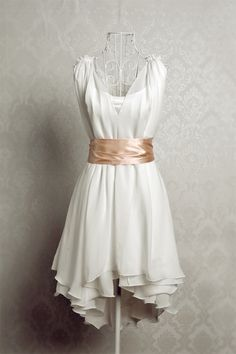 Vintage Chiffon Summer Dress with Satin Sash - Light Chiffon Short Dress - Short Chiffon Dress