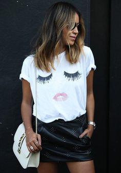 Camiseta llano labios latigazos de impresión manga corta blanco