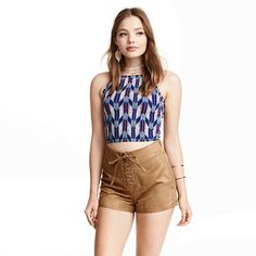 Brown Suede Lace Up High Waist Shorts – Boho Universe