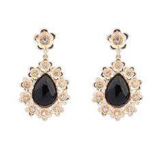 European And American Women Elegant Boutique Flower Drop Stud Earrings