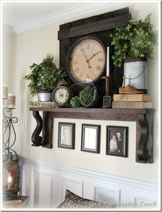 mantel without fireplace (love the wood behind the clock)