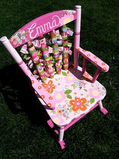 Funky Flowered Hand Painted Rocking Chair by bloomcreativestudio, $125.00