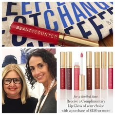✨ Free Lip Gloss✨ Don't forget Mom! — Hello Friends!!!  I just returned from an incredible trip to Dallas, with my team from Beautycounter, and I want to share this fabulous offer with you. The talented and innovative Christy Coleman (pictured above with me) created these gorgeous lip glosses. You can now get one for FREE with any $150 US/$175 CAN purchase. 🙋🏻Don't miss this offer! Ends May 11th or when supplies run out. My favorite colors are Ruby, a true red, Sienna, and Peony.   Christy