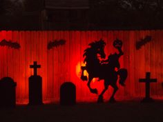 headless horseman silhouette for the garage.  Maybe your garage is too full to use, but you can do this!
