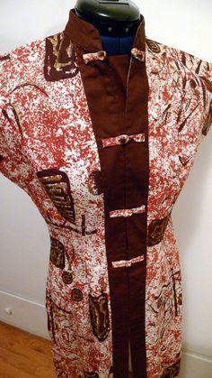 teatimer--make a set to match my tiki earrings Hawaiian Tiki, Vintage Hawaiian, Hostess Outfits, Match Me, Mandarin Collar, Snug Fit, 1940s, Printing On Fabric, Spring Summer
