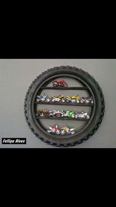Tire shelf. Auto themed room
