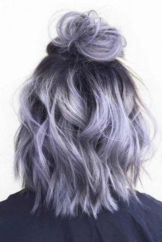 28 Impressive Silver Gray Ombre for Short Hair to Put You on Center Stage : Silver gray ombre hair color ideas for short hair managed to supplant the burning red, cold blue and extravagant purple hair dye. This shade is quite, Hair Color Long Bob Styles, Grey Ombre Hair, Black Hair, Lilac Grey Hair, White Hair, Ombre Hair Bob, Short Lilac Hair, White Blonde, Lilac Color