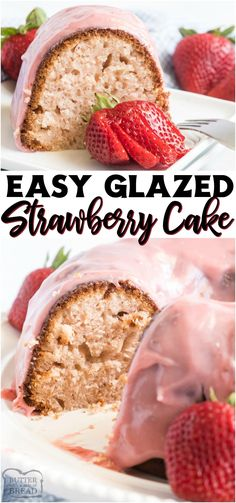 Glazed Strawberry Bundt Cake made with strawberry jam and buttermilk & topped with a sweet, fruity glaze! Easy Homemade Bundt Cake recipe with great strawberry flavor throughout! #cake #bundt #strawberry #homemade #baking #dessert #pink #berries #bundtcake #recipe from BUTTER WITH A SIDE OF BREAD Mini Desserts, Easy No Bake Desserts, Strawberry Desserts, Strawberry Jam, Strawberry Fields, Best Dessert Recipes, Desert Recipes, Donut Recipes, Breakfast Recipes