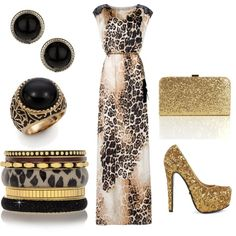 """""""Golden Animal"""" by heike-muller on Polyvore  I love that dress!"""