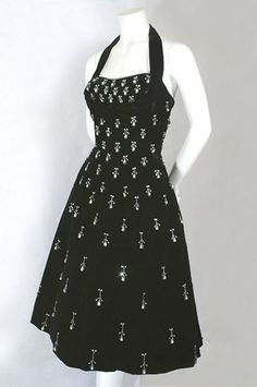 Ceil Chapman beaded velvet party dress, 1950s, from the Vintage Textile archives.