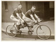 Two Men One Bicycle Tandem Bike Riders Dapper Athletic Male Cyclists Black and White Vintage Sports Photography Photo Print Tandem Bicycle, Old Bicycle, Old Bikes, Bicycle Art, Bicycle Design, Bike Photography, Photography Photos, Vintage Photography, Plus Fours
