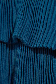 Merchant Archive - Pleated Wool-crepe Gown - Bright blue