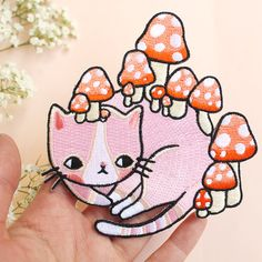 Mushroom Kitty Patch by ponyponypeoplepeople on Etsy
