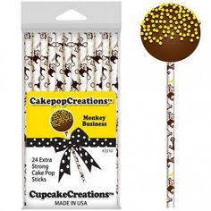 Dress up your cake pops with these strong cake pop sticks with a monkey business print. They are made from paper and are 6 inches long and 0.25 inches wide.  These cake pop sticks are Eco-freindly as they are biodegradable and compostable.