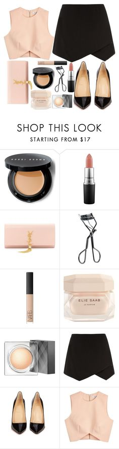"""Untitled #1677"" by mihai-theodora ❤ liked on Polyvore featuring Bobbi Brown Cosmetics, MAC Cosmetics, Yves Saint Laurent, NARS Cosmetics, Elie Saab, Burberry, Christian Louboutin and Finders Keepers"