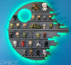 Make your own Star Wars Death Star Shelving for Funko POP!s - (credit to epbot. - - Make your own Star Wars Death Star Shelving for Funko POP!s - (credit to epbot. Star Wars Decor, Decoration Star Wars, Star Wars Art, Star Wars Crafts, Funko Pop Shelves, Funko Pop Display, Toy Display, Display Ideas, Star Wars Bedroom