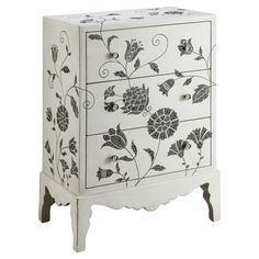 Vinea Chest - white chest with blue painted flowers.