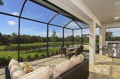 Gorgeous view from the lanai at a model from David Weekley Homes: Kinglet at FishHawk Ranch