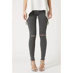 MOTO Grey Ripped Joni Jeans ❤ liked on Polyvore featuring jeans, distressed jeans, grey jeans, ripped jeans, torn jeans and grey ripped jeans