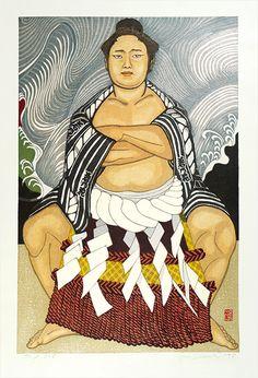関野凖一郎「出を待つ若乃花」。古書の街・東京神田神保町にて、浮世絵から新版画、創作版画、現代版画までの版画作品の販売中心に、肉筆画(油彩・水彩)、書、彫刻、陶芸等の美術品及び美術書を幅広く取り扱っております。美術品・古書の買取も随時承ります。