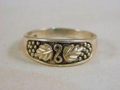 Vintage Sterling Silver Mens Ring / Mens Finnish Leaf Ring / Mod Ring Size 13.5 by VintageBaublesnBits on Etsy