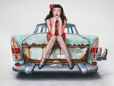 Vintage Classic Cars and Girls: The Mechanic's girlfriend