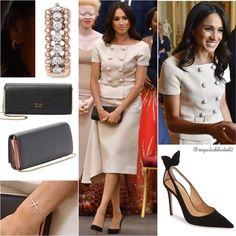 Duchess of Sussex Style! Top: Prada; Skirt: Prada; Shoes: Aquazzura ($750); Clutch: Prada ($1,690); Bracelet: (?); Earrings: Vanessa Tugendhaft✨ .