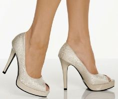 The Highest Heel Shoes Precious 103 Bone Peep Beige fashion shoes with court design, chic peep-toe detail and designer fabric graffiti. The 0.75 inch (2 cm) front platform in matching beige lifts the foot up and creates a comfortable sole, while  http://www.MightGet.com/january-2017-12/the-highest-heel-shoes-precious-103-bone-peep.asp