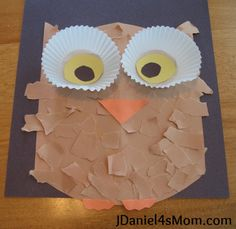 """Owl Craft with Cupcake Liner Eyes by JDaniel4's Mom. Craft goes along with """"Little Owl's Night"""""""