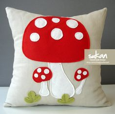 felt+linen toadstool pillow for kids space