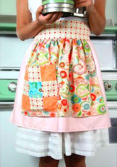 A Pretty Half-Apron with free, comprehensive instruction guide. Would be so much fun to sew, and it's savvy too; You can use old pillow cases and left over fabric scraps for this one!