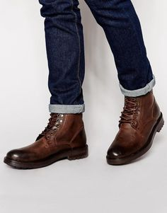 Base London | Base London Roebuck Leather Boots with Faux Shearling Lining at ASOS