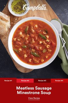 Campbell's Tomato Soup has no bounds. Get crafty in the kitchen by trying these vegetarian recipes & elevate your tomato soup experience. Vegetarian Dinners, Vegetarian Recipes Easy, Veggie Recipes, Soup Recipes, Cooking Recipes, Helathy Food, Homemade Chinese Food, Campbells Recipes, Cookout Food