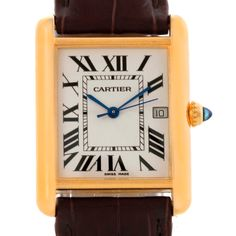 Cartier Tank Louis Large 18k Yellow Gold Brown Strap Watch W1529756